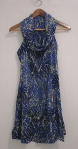 Vestido Gola Boba - Estampa azul